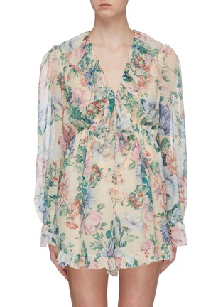 Main View - Click To Enlarge - ZIMMERMANN - 'Verity' ruffle drawstring floral print chiffon rompers