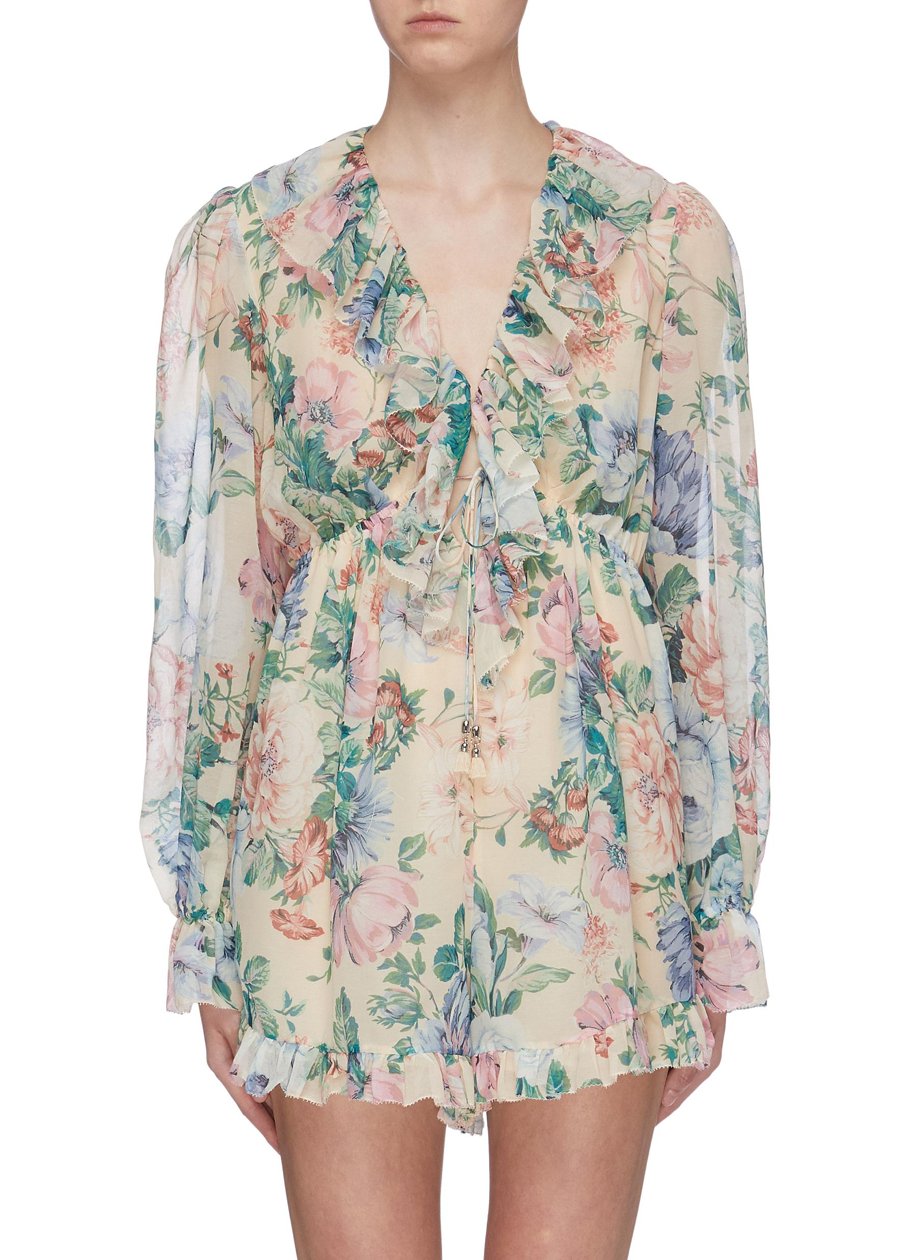 Verity ruffle drawstring floral print chiffon rompers by Zimmermann