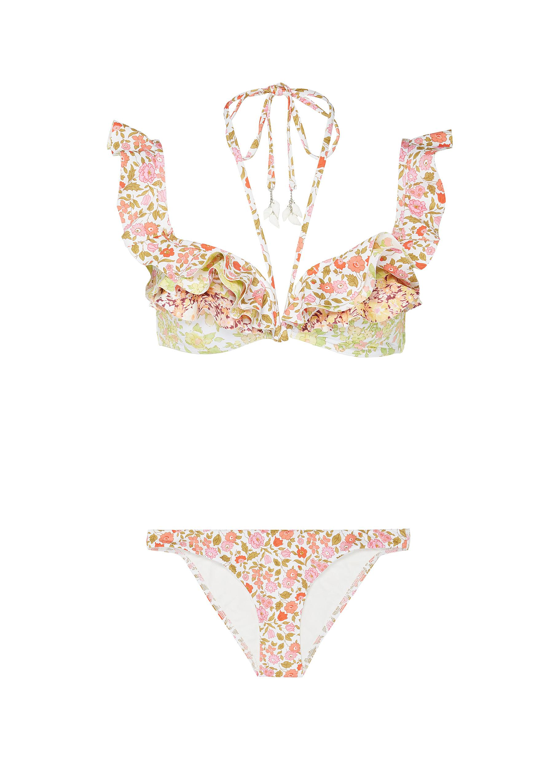Goldie halter tie ruffle trim floral print bikini top by Zimmermann