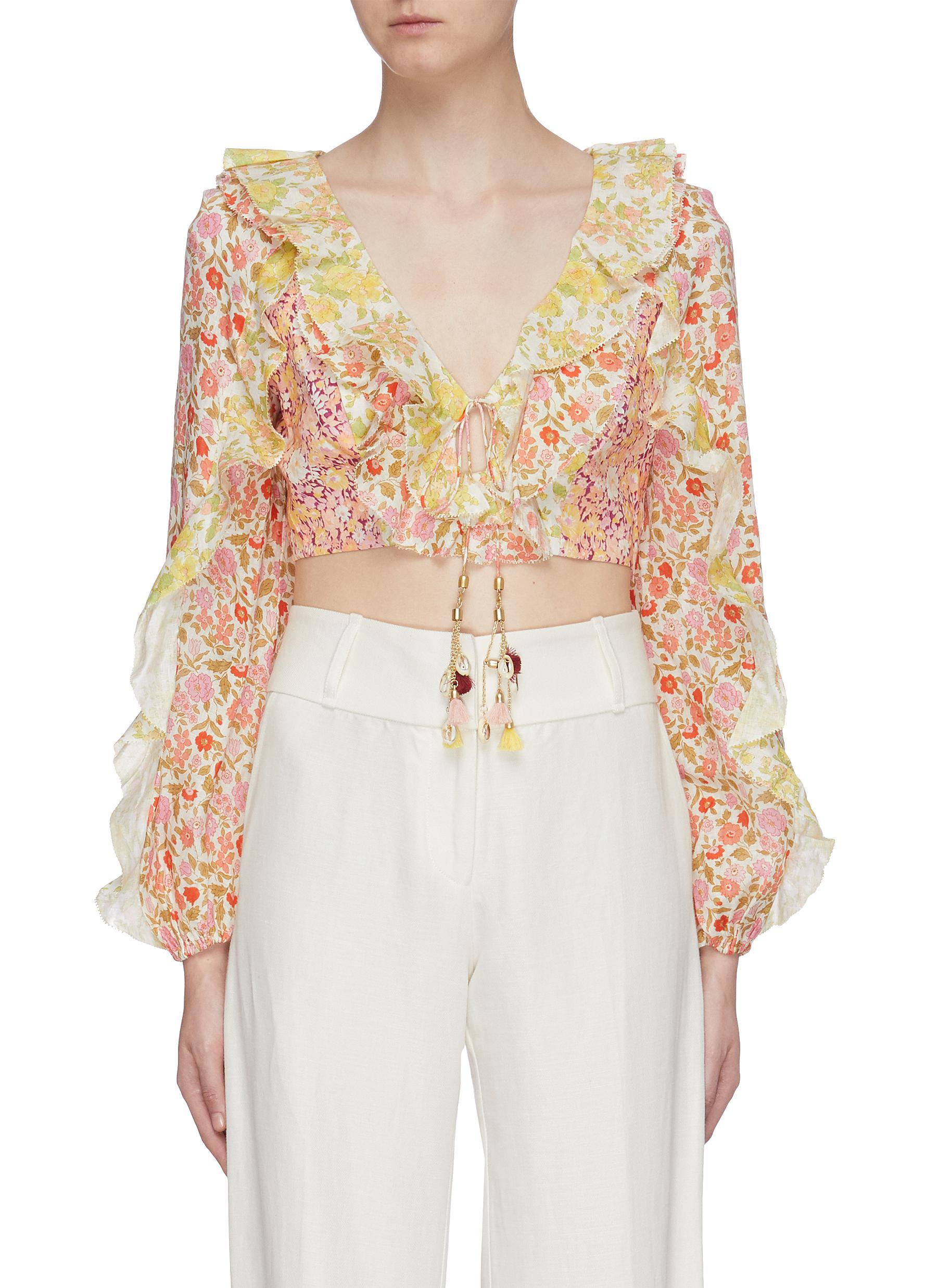 Goldie ruffle patchwork floral print linen cropped top by Zimmermann