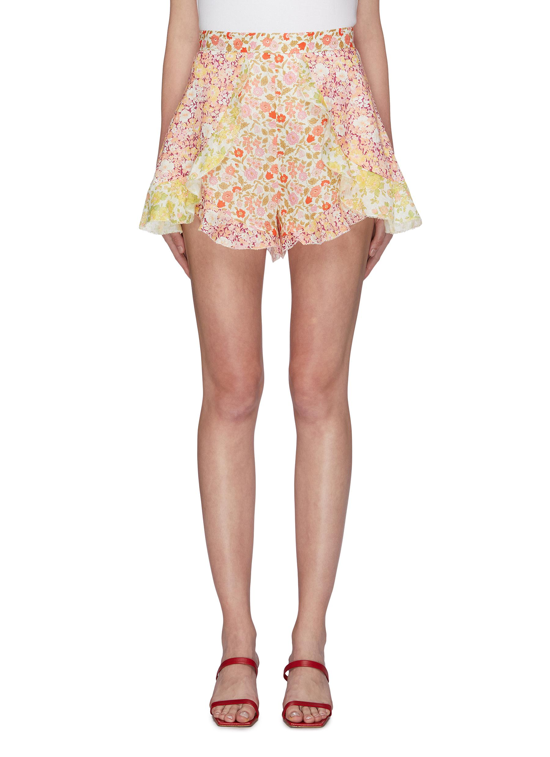 Goldie ruffle patchwork floral print linen shorts by Zimmermann