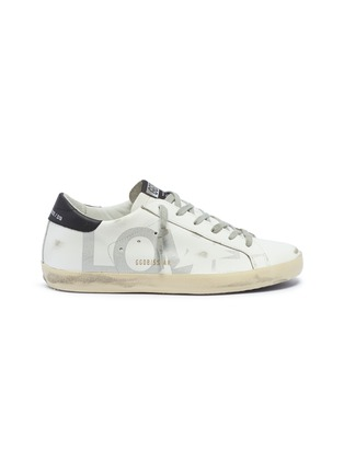 Main View - Click To Enlarge - GOLDEN GOOSE - 'Superstar' slogan star print leather sneakers