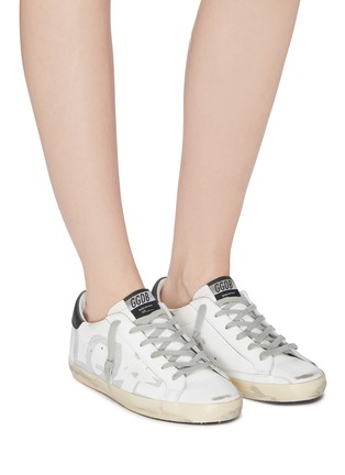 Figure View - Click To Enlarge - GOLDEN GOOSE - 'Superstar' slogan star print leather sneakers