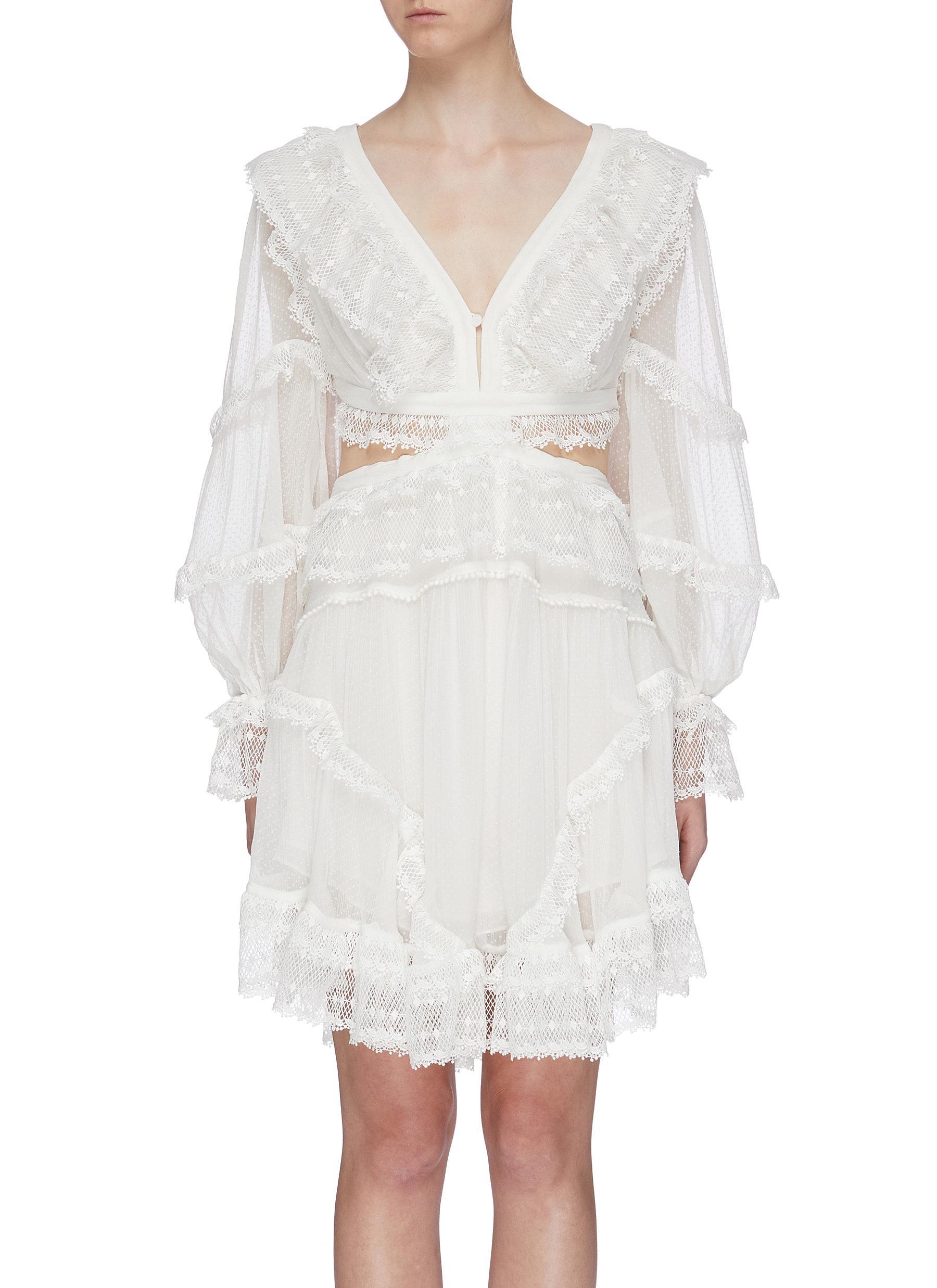 Suraya lace-up open back ruffle dress by Zimmermann