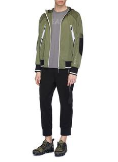 BLACKBARRETT Reflective stripe contrast panel hooded windbreaker jacket