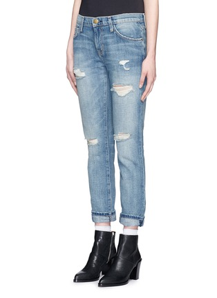 Front View - Click To Enlarge - Current/Elliott - 'The Fling' distressed cropped jeans