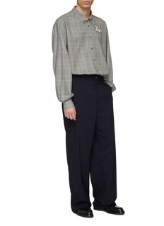 Gucci Flying pig appliqué houndstooth check plaid oversized shirt