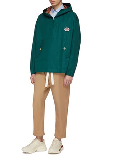 Gucci GG logo appliqué hooded poplin half-zip anorak
