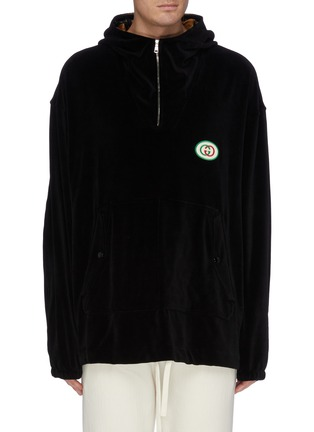 2068f39b159 Gucci. GG logo appliqué velvet half-zip hoodie