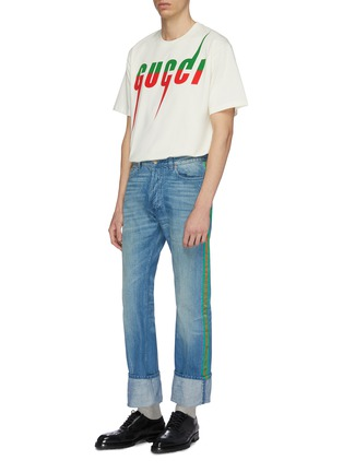 Figure View - Click To Enlarge - Gucci - Logo blade print oversized T-shirt