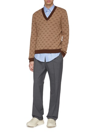 5db8a6f78 Figure View - Click To Enlarge - GUCCI - Roll cuff pleated wool pants