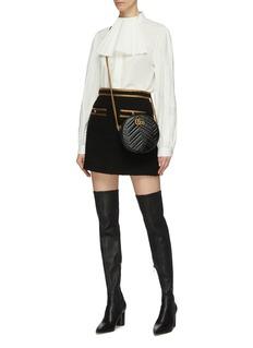 Gucci Metallic trim patch pocket tweed mini skirt