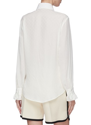 Back View - Click To Enlarge - GUCCI - Ruffle placket GG monogram silk crepe blouse