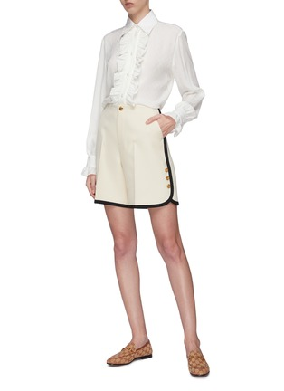 Figure View - Click To Enlarge - GUCCI - Ruffle placket GG monogram silk crepe blouse
