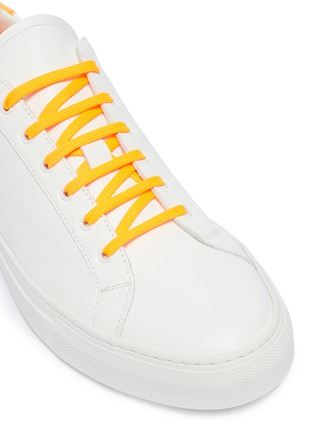 Detail View - Click To Enlarge - Common Projects - 'Retro Low Fluro' neon collar leather sneakers