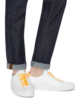 Figure View - Click To Enlarge - Common Projects - 'Retro Low Fluro' neon collar leather sneakers