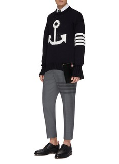 Thom Browne Anchor stripe intarsia oversized sweater