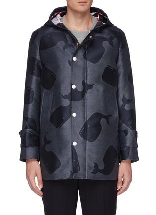 0d437c226f8b Thom Browne Whale jacquard hooded raincoat