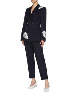 COMME MOI Lace appliqué contrast topstitching blazer