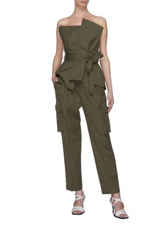 COMME MOI Belted pleated cargo pants