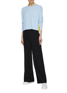 COMME MOI Contrast snap button outseam sweater