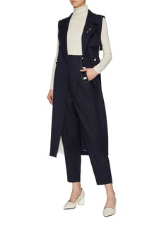 COMME MOI Colourblock pleated gusset belted sleeveless trench coat