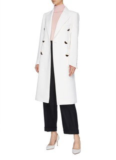 COMME MOI Folded waist double breasted coat