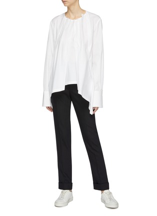 Figure View - Click To Enlarge - THE KEIJI - Gathered poplin blouse