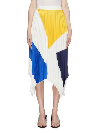 Main View - Click To Enlarge - COMME MOI - Geometric colourblock pleated handkerchief skirt