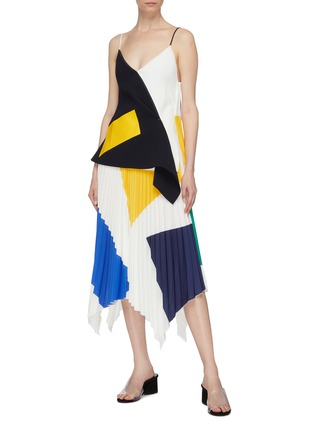 Figure View - Click To Enlarge - COMME MOI - Geometric colourblock pleated handkerchief skirt