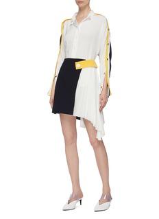 COMME MOI Stripe button sleeve colourblock shirt