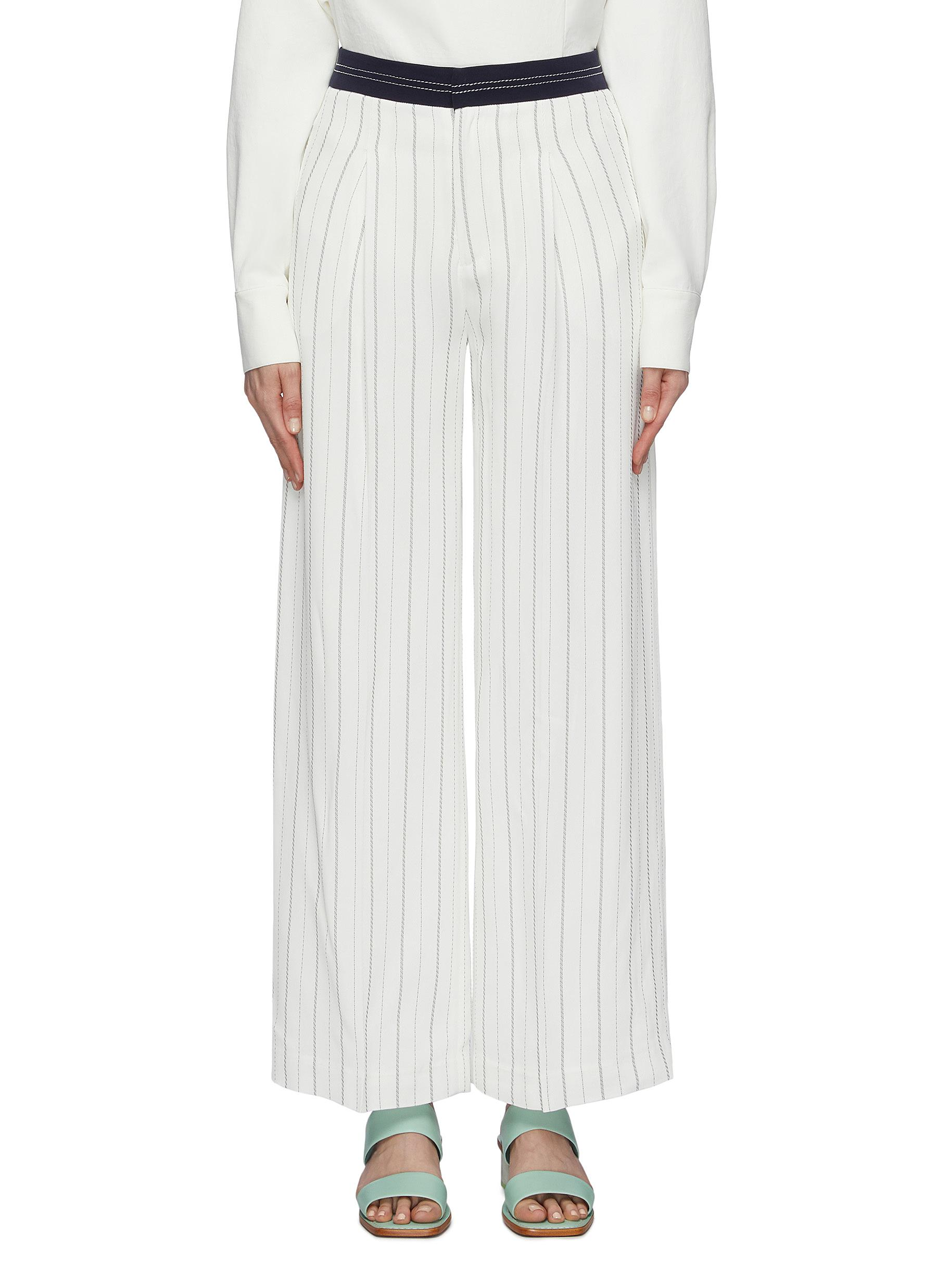Contrast waistband pinstripe twill wide leg pants by Comme Moi