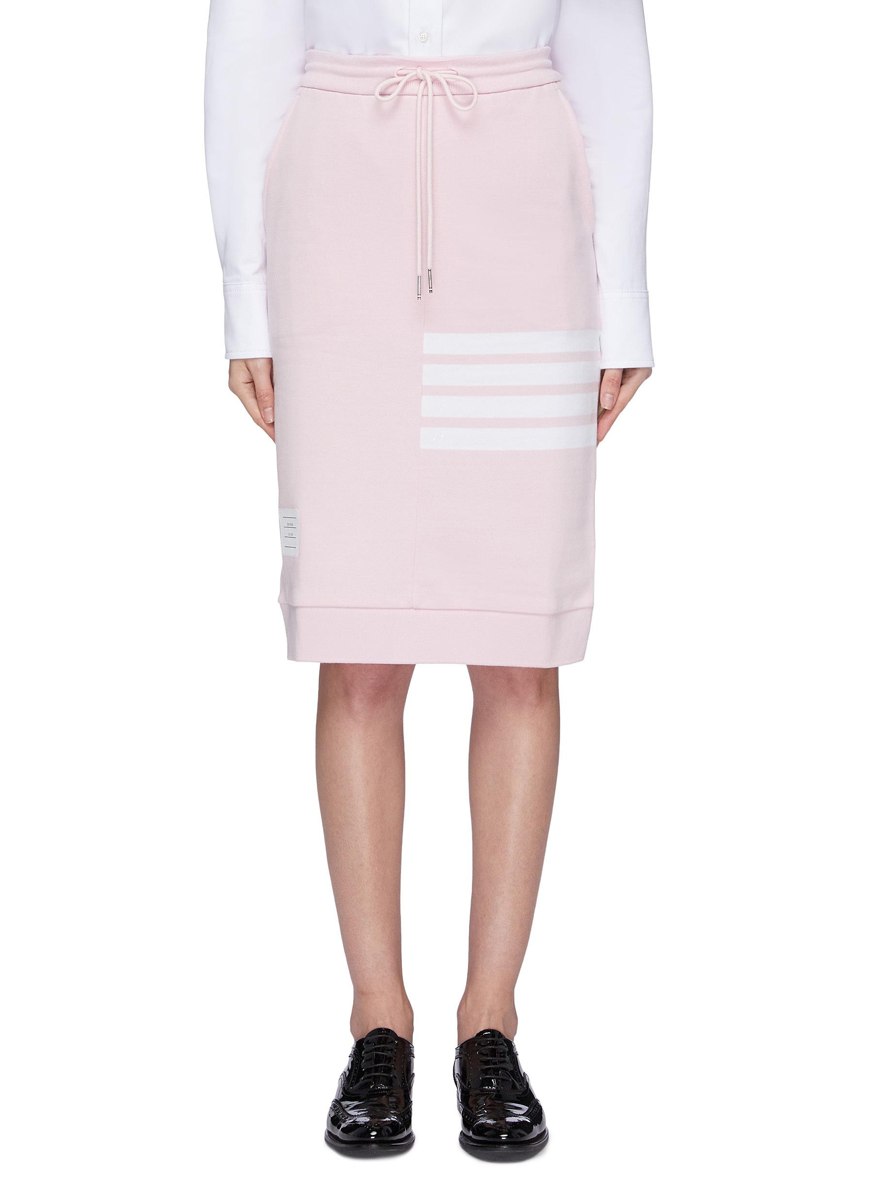 Stripe drawstring French terry sack skirt by Thom Browne