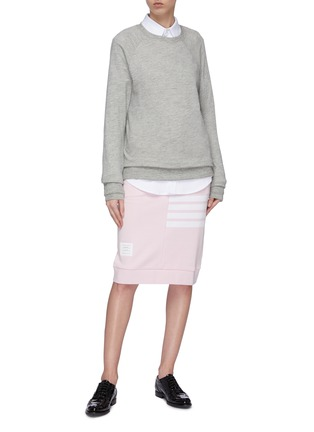 Figure View - Click To Enlarge - THOM BROWNE - Stripe drawstring French terry sack skirt