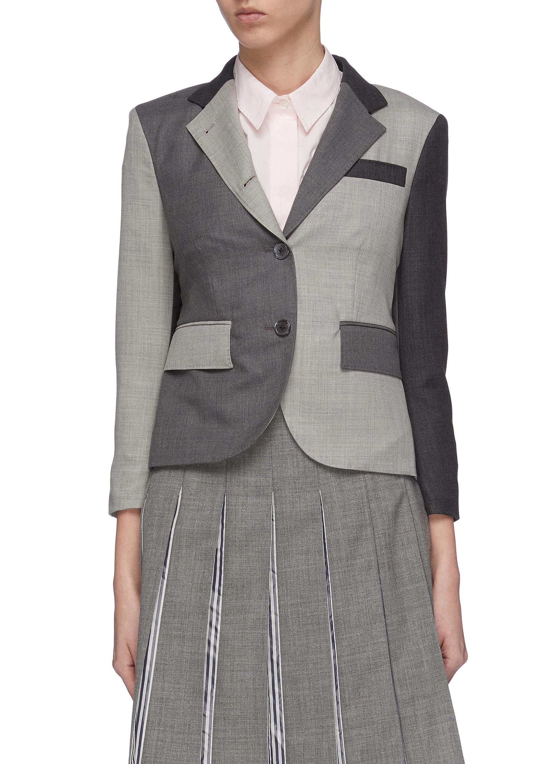Colourblock panelled twill sport blazer by Thom Browne