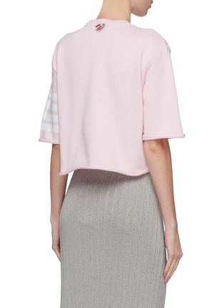 Back View - Click To Enlarge - Thom Browne - Stripe sleeve cropped boxy French terry T-shirt