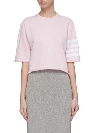 Main View - Click To Enlarge - Thom Browne - Stripe sleeve cropped boxy French terry T-shirt