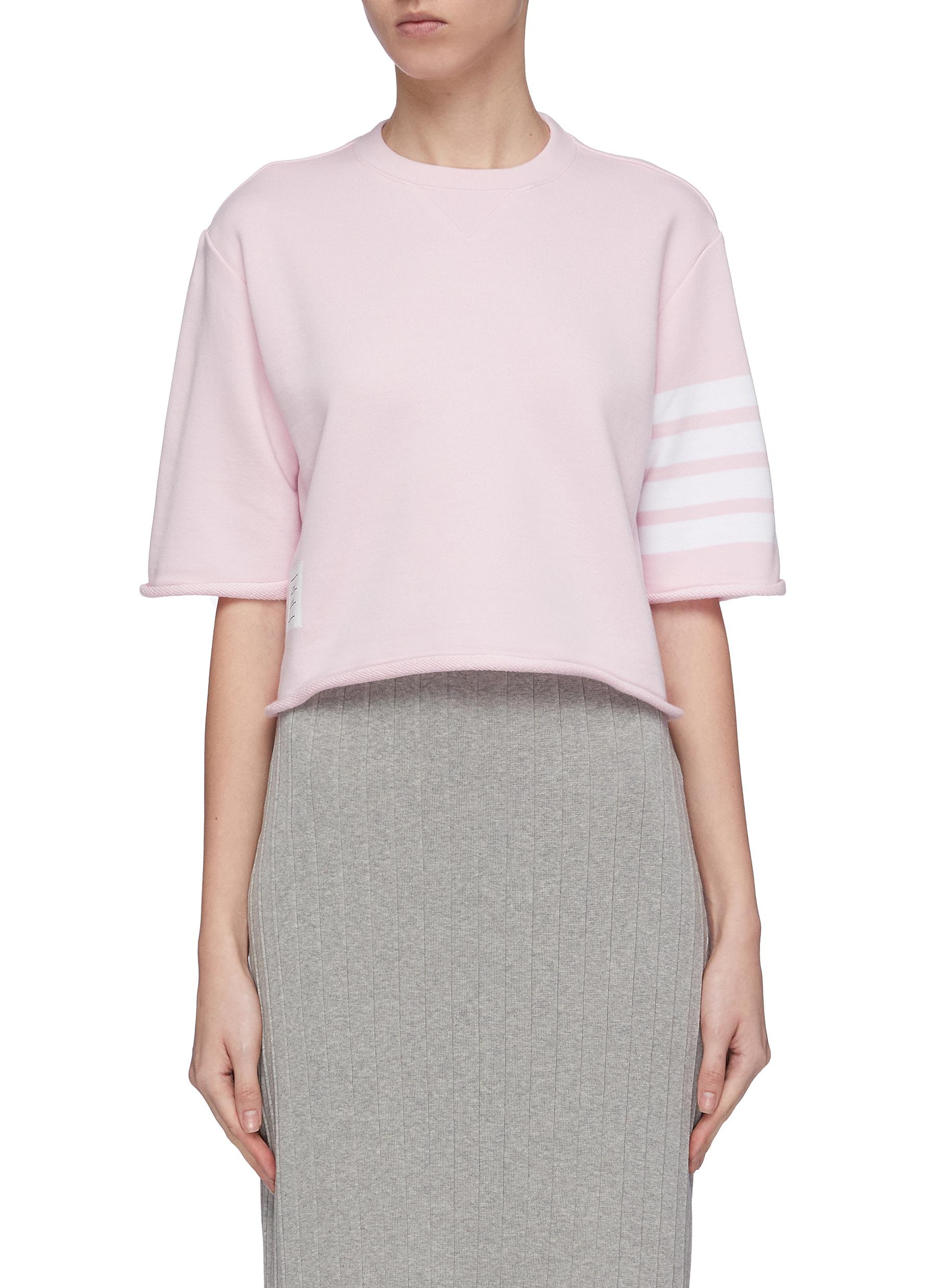 Stripe sleeve cropped boxy French terry T-shirt by Thom Browne