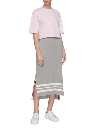Figure View - Click To Enlarge - Thom Browne - Stripe sleeve cropped boxy French terry T-shirt