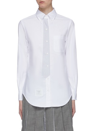 Main View - Click To Enlarge - THOM BROWNE - Trompe l'œil tie Oxford shirt