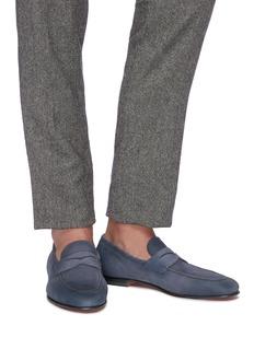 Santoni Nubuck leather penny loafers