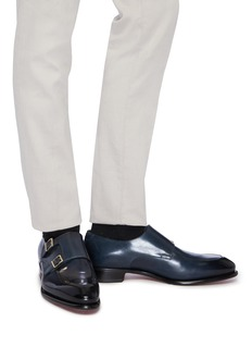 Santoni 'Carter' double monk strap leather loafers