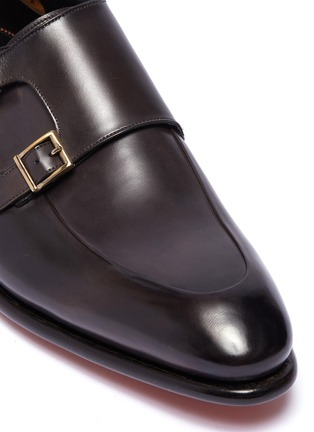 Detail View - Click To Enlarge - SANTONI - 'Carter' double monk strap leather loafers