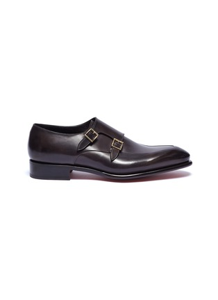 Main View - Click To Enlarge - SANTONI - 'Carter' double monk strap leather loafers