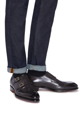 Figure View - Click To Enlarge - SANTONI - 'Carter' double monk strap leather loafers