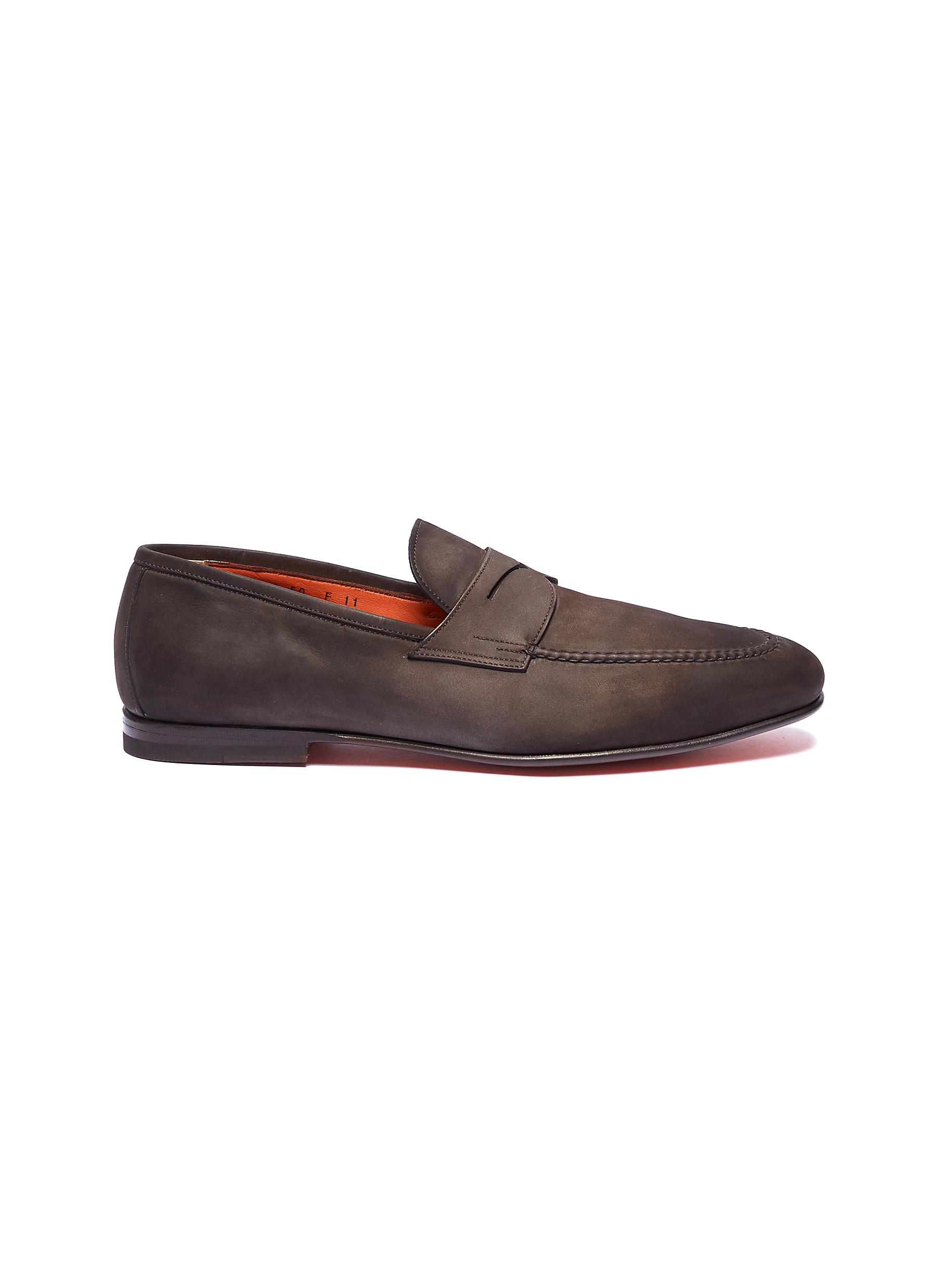 b10c3877078 Main View - Click To Enlarge - Santoni - Leather penny loafers