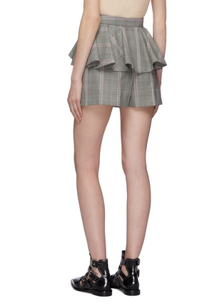 Back View - Click To Enlarge - ALEXANDER MCQUEEN - Ruffle waist houndstooth check plaid virgin wool shorts