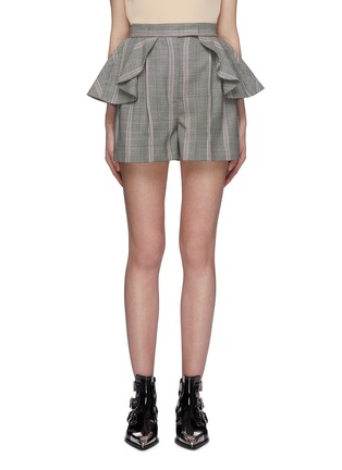 Main View - Click To Enlarge - ALEXANDER MCQUEEN - Ruffle waist houndstooth check plaid virgin wool shorts