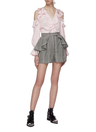 Figure View - Click To Enlarge - ALEXANDER MCQUEEN - Ruffle waist houndstooth check plaid virgin wool shorts