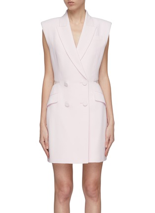 Main View - Click To Enlarge - Alexander McQueen - Sarabande lace back panel double breasted gilet dress